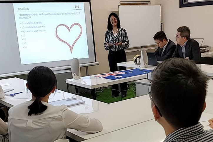 Stella Leong presents at an intern briefing