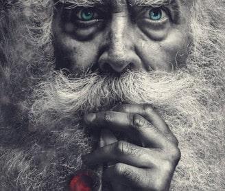 bearded man smoking