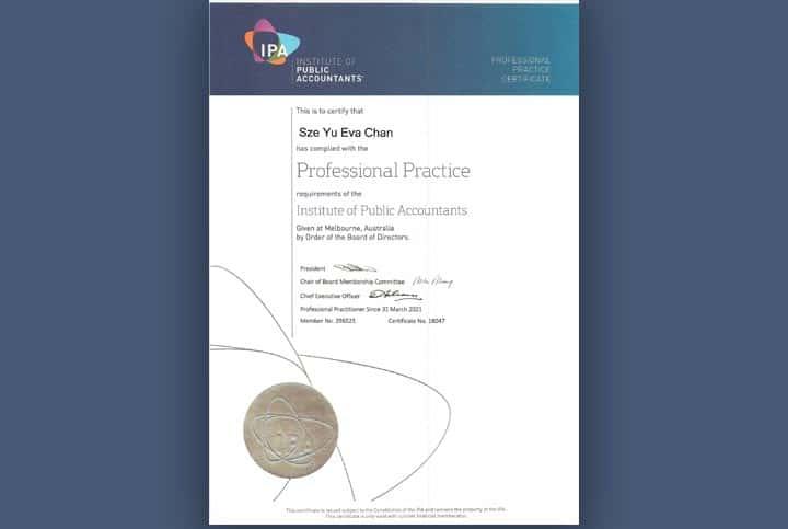 Institute of public accountants certificate