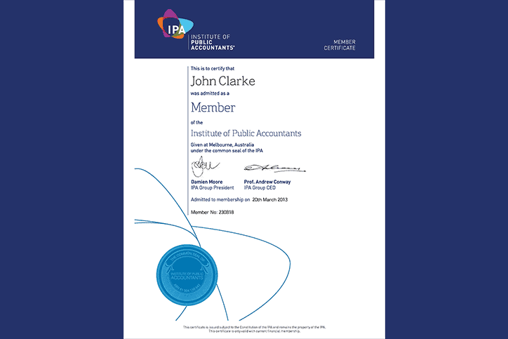 John Clarke, membership certificate – Institute of Public Accountants