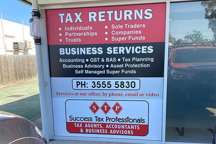Tax office signage